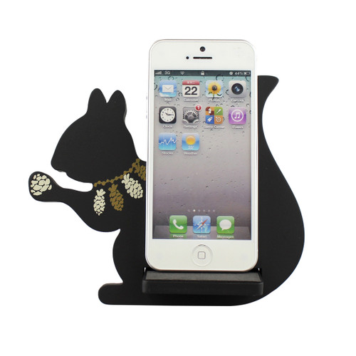 Squirrel Cell Phone Holder Wood Stand Black