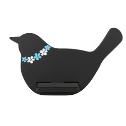 Bird Cell Phone Holder Wood Stand Black