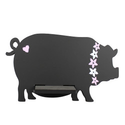 Pig Tablet / iPad Holder Wood Stand Black