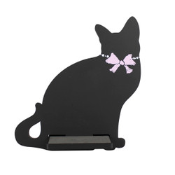 Cat Tablet / iPad Holder Wood Stand Black
