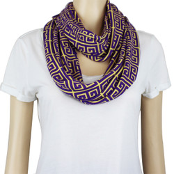 Tribal Pattern Jersey Knit Infinity Scarf Purple