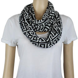 Tribal Pattern Jersey Knit Infinity Scarf Black