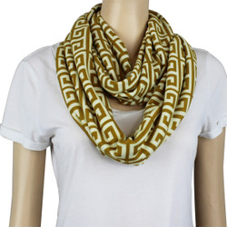 Tribal Pattern Jersey Knit Infinity Scarf Yellow