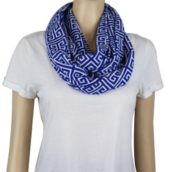 Tribal Pattern Jersey Knit Infinity Scarf Blue