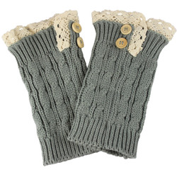 Knit Boot Cuff Topper Liner Leg Warmer With Lace Trim Button Grey