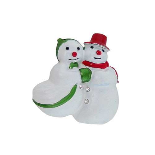 Heartwarming Snow Couple Brooch