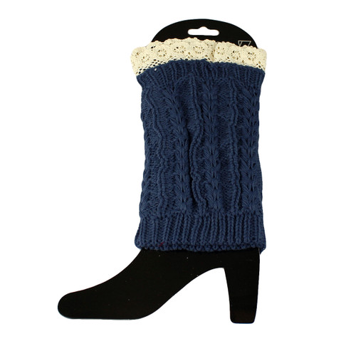 Knit Boot Cuff Topper Liner Leg Warmer With Lace Trim  Twist Pattern Navy