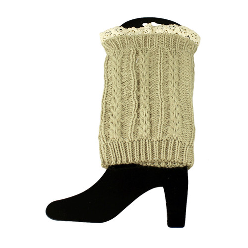 Knit Boot Cuff Topper Liner Leg Warmer With Lace Trim  Twist Pattern Beige