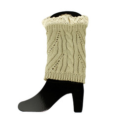 Knit Boot Cuff Topper Liner Leg Warmer With Lace Trim  Mixed Pattern Beige