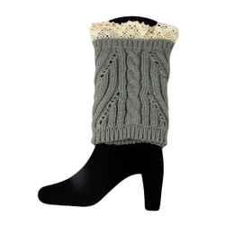 Knit Boot Cuff Topper Liner Leg Warmer With Lace Trim  Mixed Pattern Grey