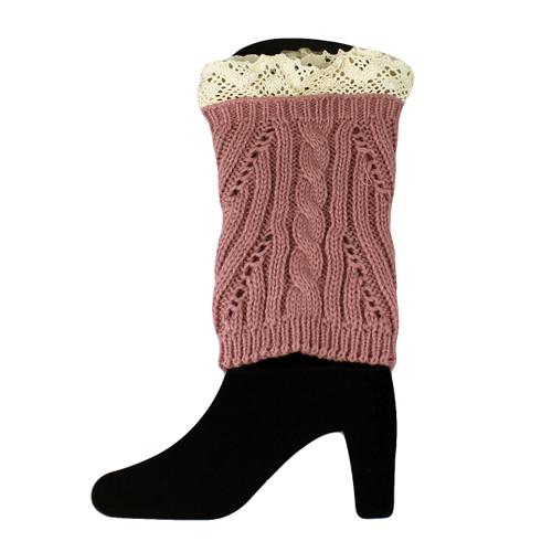 Knit Boot Cuff Topper Liner Leg Warmer With Lace Trim  Mixed Pattern Pink
