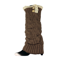 High Knit Boot Cuff Topper Liner Leg Warmer With Lace Trim Brown