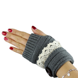 Knit Button Fingerless Gloves With Lace Trim Dark Grey