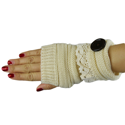Knit Button Fingerless Gloves With Lace Trim Beige