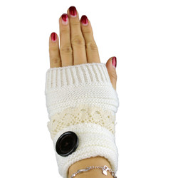 Knit Button Fingerless Gloves With Lace Trim White