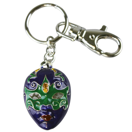 Mardi Gras Mask Key Chain Purse Charm Mardi Gras Purple and Green