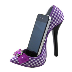 Bow Checkered Print Pump Shoe Cell Phone Holder White and Purple