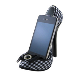 Bow Checkered Print Pump Shoe Cell Phone Holder Black and White