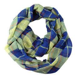 Lightweight Checkered Infinity Scarf Blue
