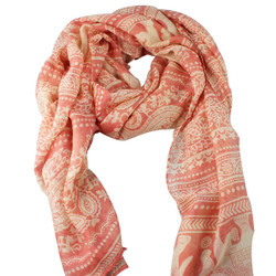 Large Scarf Elegant & Paisley Print Tribal Style Peach