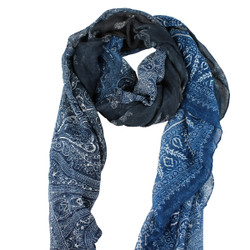 Large Scarf Paisley Print Earthy Tones Navy & Grey
