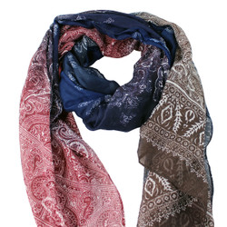 Large Scarf Paisley Print Earthy Tones Navy,Red & Brown