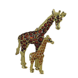 Giraffe and Young Trinket Box Bejeweled