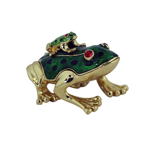 Piggyback Frog Trinket Box Green
