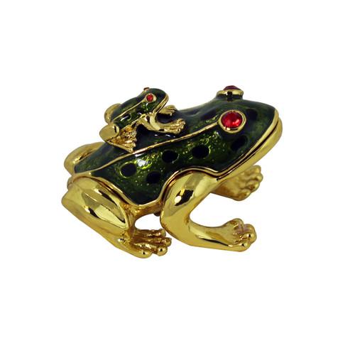 Piggyback Frog Trinket Box Olive Green
