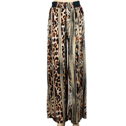 Leopard and Dot Mixed Print Palazzo Wide Leg Pants