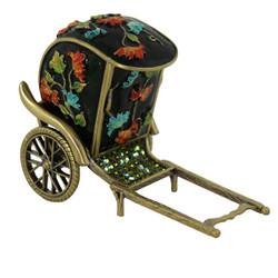 Rickshaw Trinket Box Bejeweled Green
