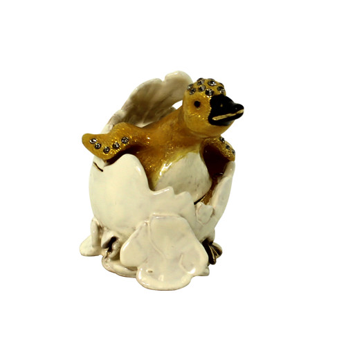 Duck Hatching from Egg Shell Trinket Box
