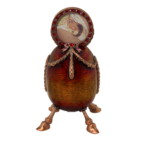 Egg Trinket Box With Picture Frame Red