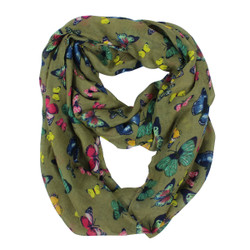 Butterflies Infinity Scarf Brown