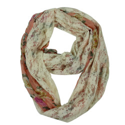 Rose and Lace Infinity Scarf Peach