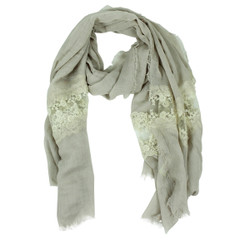 Solid Color Lace Scarf Natural