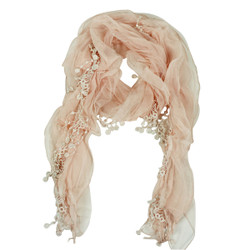 Layered and Dangling Summer Scarf Pink