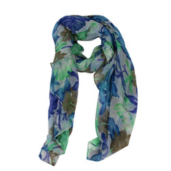 Tropical Leaves Large Scarf Blue and Green