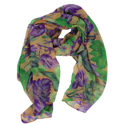 Tropical Leaves Large Scarf Purple and Peach
