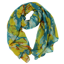 Tropical Flowers Large Scarf Yellow and Teal