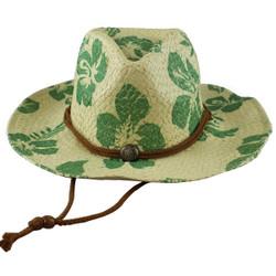 Environmentally Friendly Paper Straw Cowgirl Hat Hawaiian Green Hibiscus