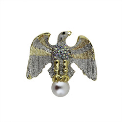 Crystal Eagle Sitting On Large Pearl Brooch and Pendant