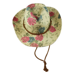 Environmentally Friendly Paper Straw Flowers Cowgirl Hat Fuchsia and Teal