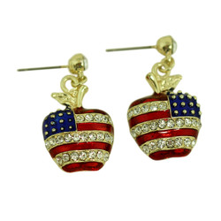 Patriotic Apple Earrings Gold