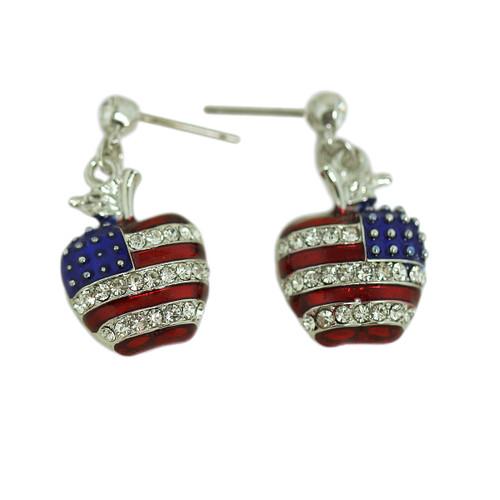 Patriotic Apple Earrings Silver