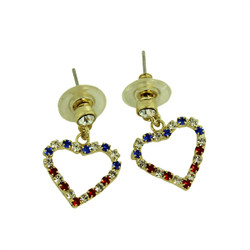 Patriotic Crystal Heart Silhouette Earrings