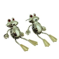 Wiggly Jiggly Dangly Frog Earrings
