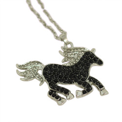 Crystal Horse Necklace Black and Silver