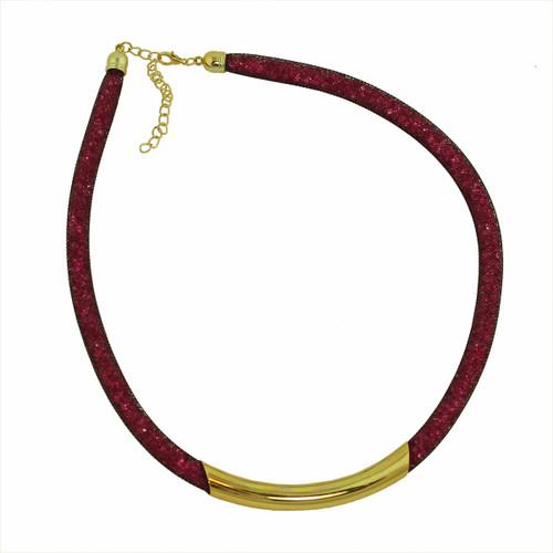 Diamond Illusion Necklace Fuschia and Gold