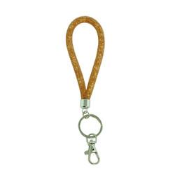 Small Diamond Illusion Key Chain and Badge Clip Beige
